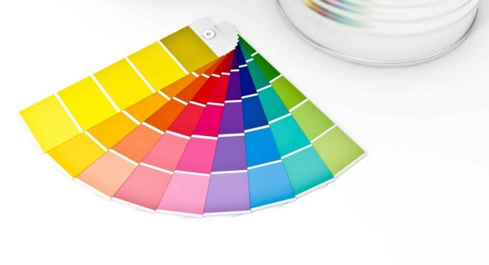 3d color cans paint and swatches