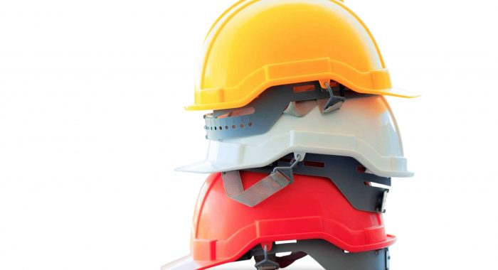 Safety helmet stacked isolated on white background.