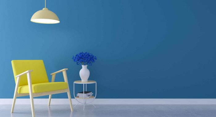 Spring Summerr concept design ,yellow chair sofa near flower on table under the lamp on sky blue wall and concrete wall,3d render