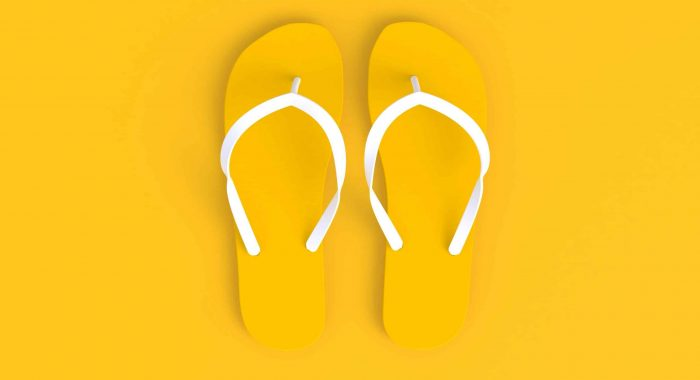 Flip flops abstract minimal yellow background, Summer concept, 3d rendering